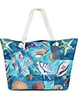 Bolsa de Playa de Lona, ZWOOS Impermeable Mujer Grande Bolso de Mano Shopper Bolsa con Cremallera (Estrella de mar)