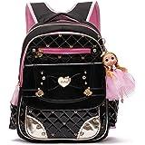Backpack for Girls, Waterproof Kids Backpacks School Bag Toddler Bookbags Cute Travel Daypack (Small, A-Black)