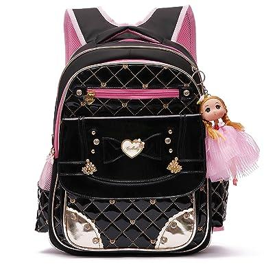 326153bef9ab Waterproof PU Leather Kids Backpack Cute Princess School Bookbag for  Primary Girls (Large
