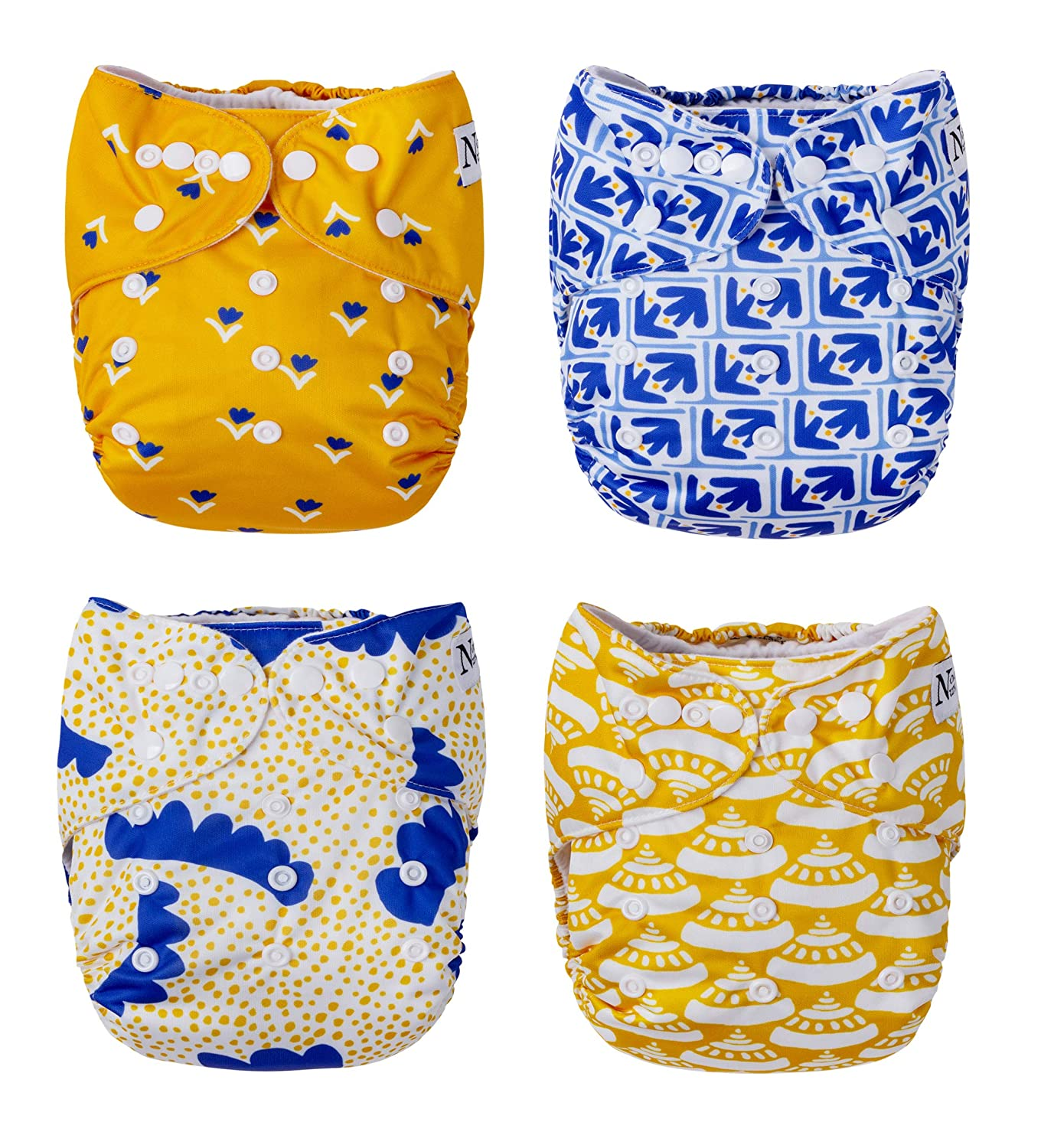 Fan Favorites 4-Pack Cloth Pocket Diapers with 4 Bamboo Inserts