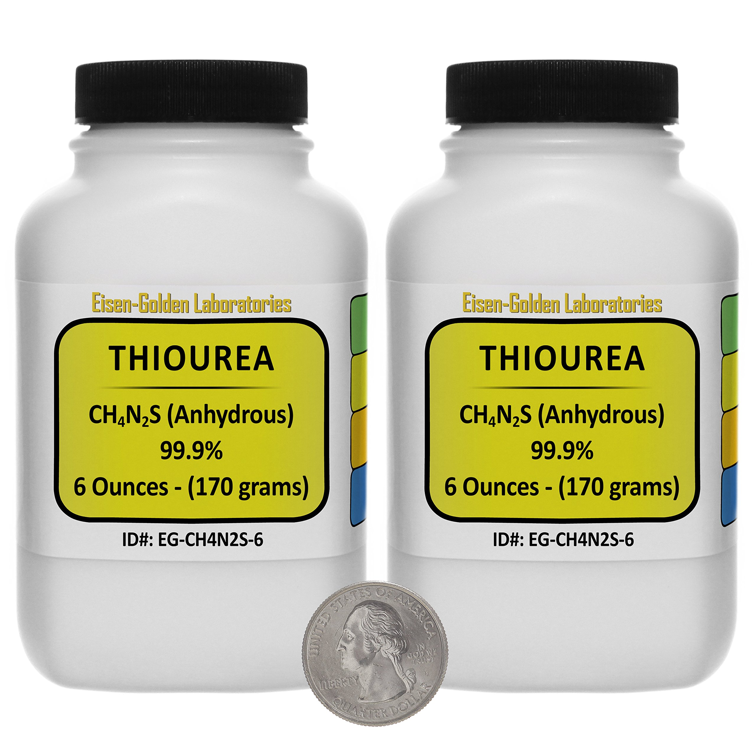 Thiourea [SC(NH2)2] 99.9% ACS Grade Crystals 12 Oz in Two Space-Saver Bottles USA by Eisen-Golden Laboratories