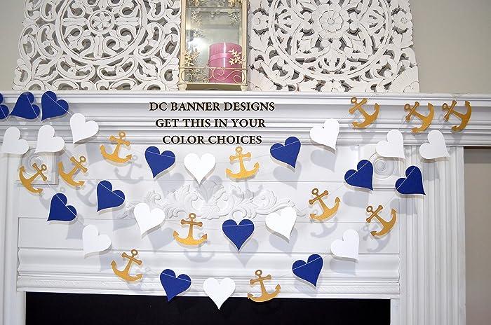 anchors and heart garlandnavy white gold beach wedding decor nautical bridal