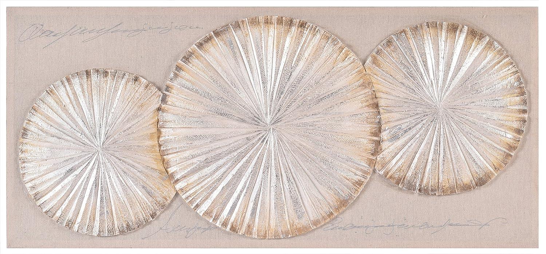 Home Selections oro conchiglie dipinto a mano da parete 3D tela. Grande moderno quadro su tela, tela pronta da appendere. Innova Editions