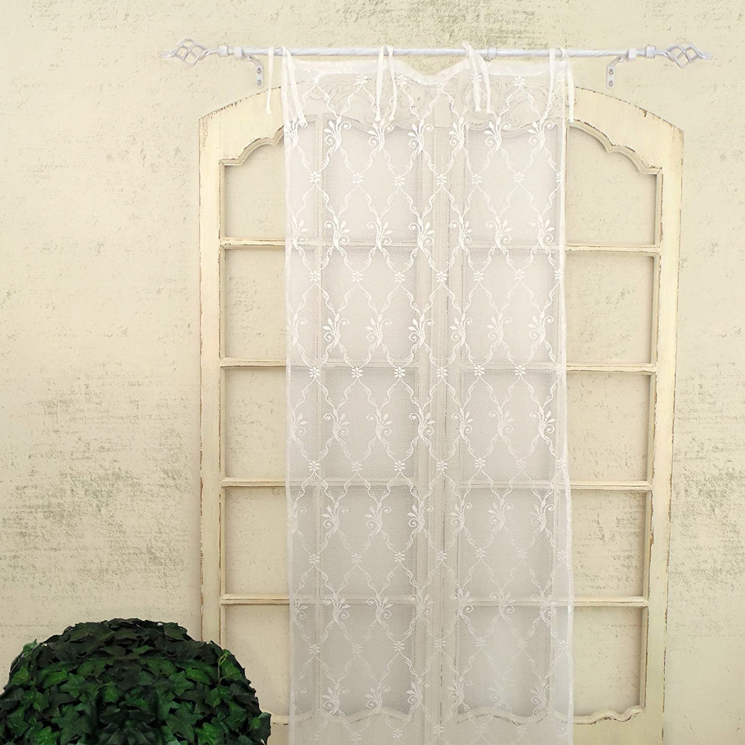 Tenda finestra in Pizzo Poliestere Shabby Chic Poly-Astre Collection 60 x 220 Colore Bianco AT17