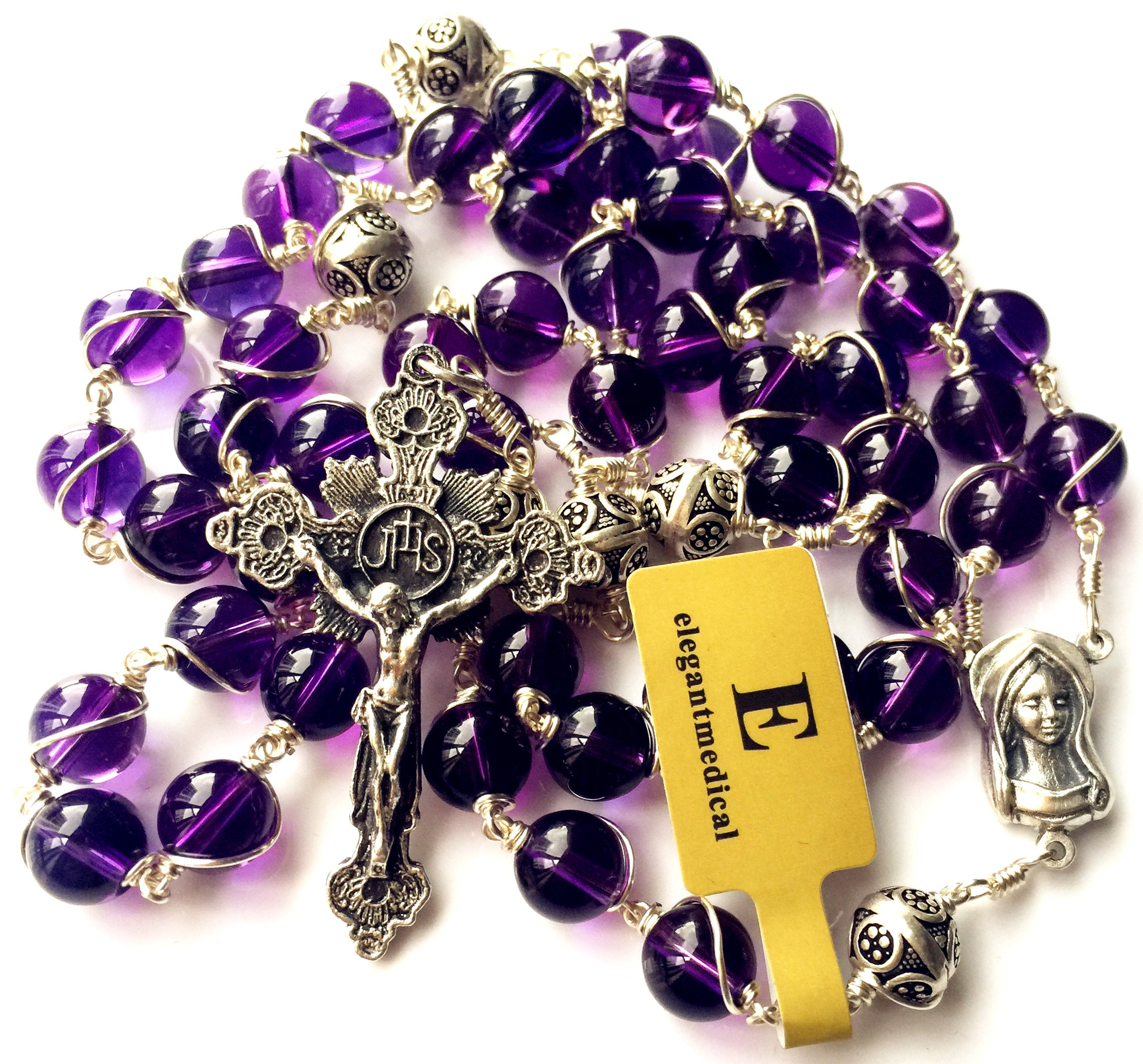 elegantmedical Sterling Silver Wire Wrap Amethyst Prayer Beads Catholic Rosary necklace Gift box