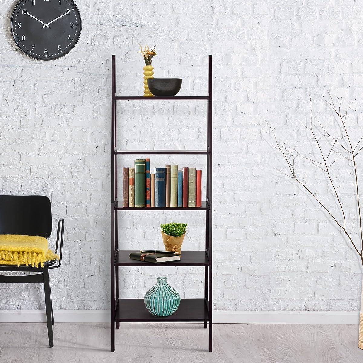 Casual Home 176-53 5-Shelf Ladder Bookcase, Espresso