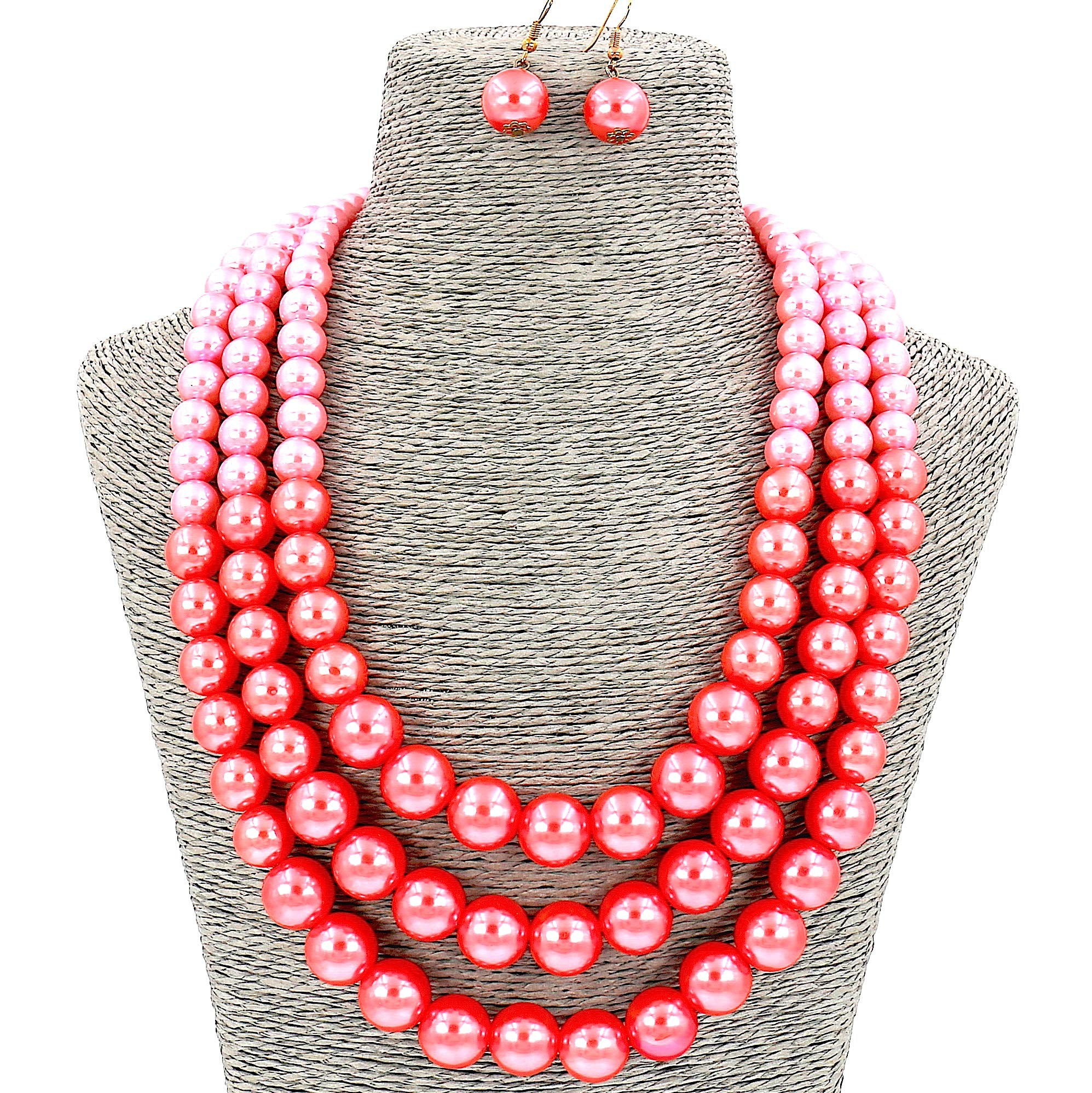 Lady Fashion Jewelry Girls Pink Simulated Pearl Chain Layered Women Necklace and Earrings Set