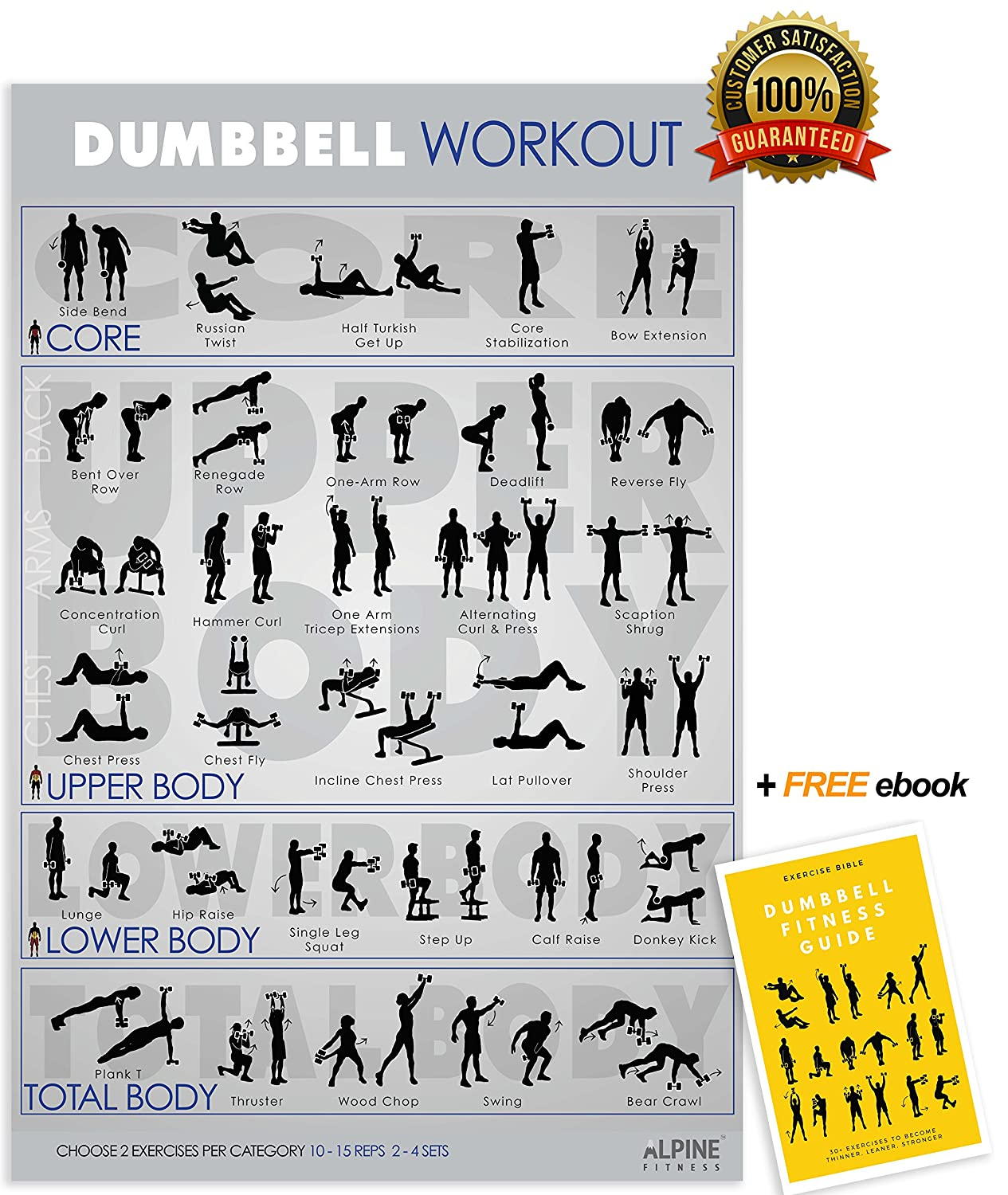Alpine Fitness Dumbbell Exercise & Fitness Poster | Laminated Gym Planner for a Great Workout - Guide to Build Muscle & Strength