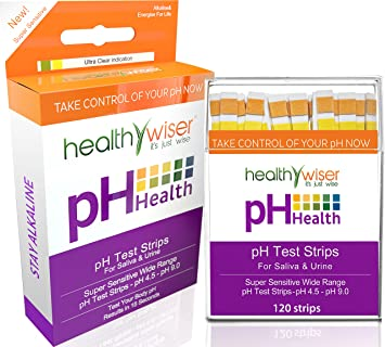 pH Test Strips 120ct - Tests Body pH Levels for Alkaline & Acid Levels  Using Saliva & Urine  Track &