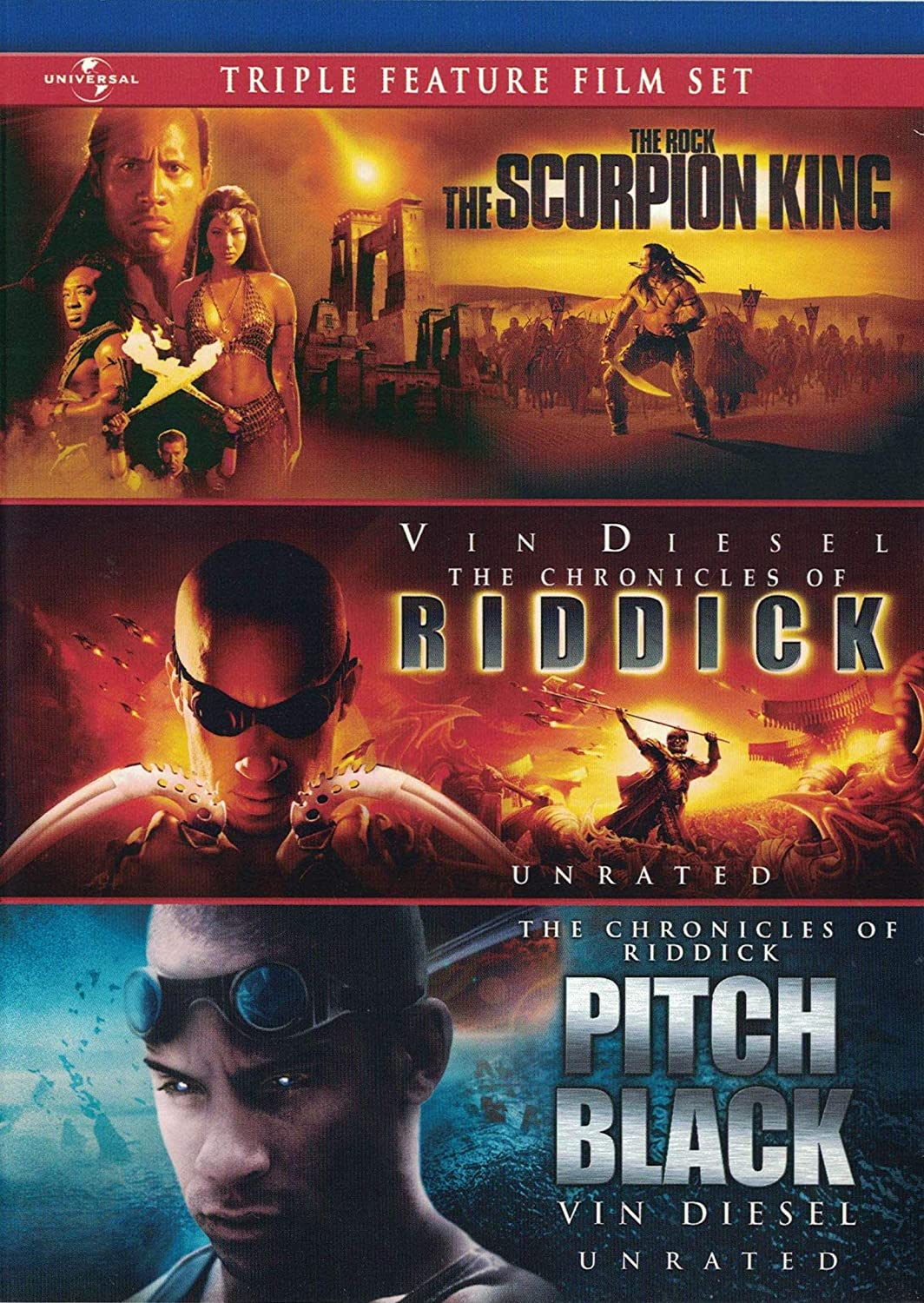 Amazon.com: Triple Feature Film Set - The Scorpion King - The Chronicles of  Riddick - Pitch Black - DVD: The Rock, Vin Diesel: Movies & TV