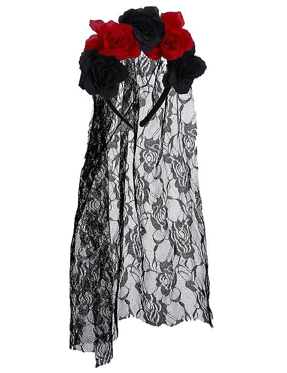 Generique - Diadema Flores Negro y Rojo con Velo Encaje Adulto ...