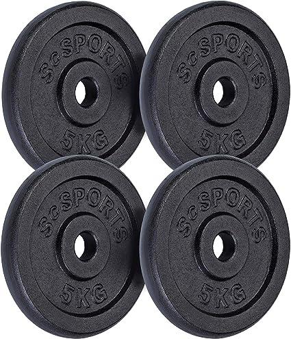 ScSPORTS® 5 kg Hantelscheiben Set 4 x 1,25 kg Hantel Gewichte 30 mm Kunststoff