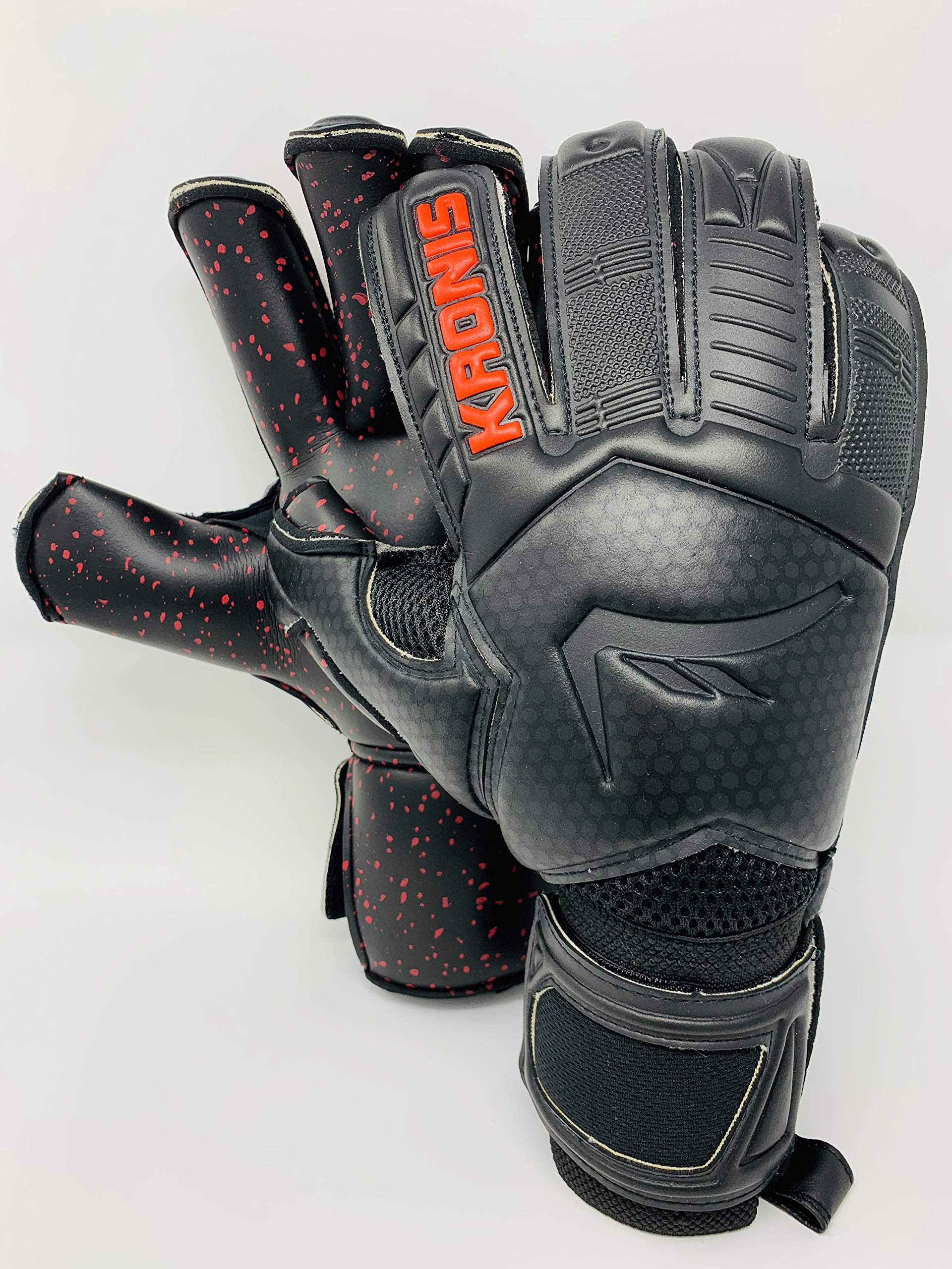 KRONIS Goalkeeper Glove IGNIS Black/Red |Size 4| Professional Level Goalkeeper Gloves| Adult & Youth| Rolled| Designed for top Performance, Durability, Safety, and Comfort