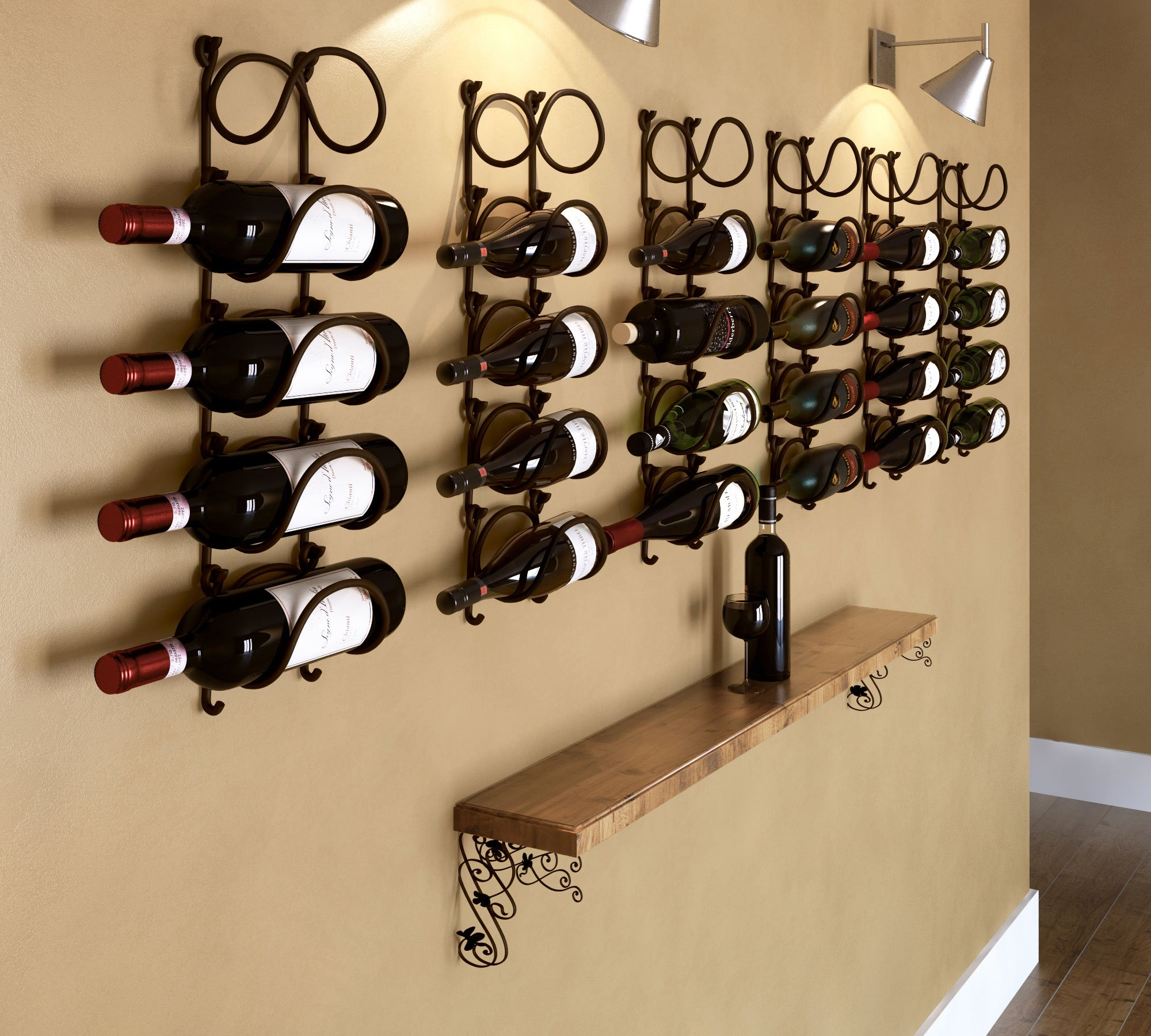 WALLNITURE Wrought Iron Curved Wall Mounted Wine Bottle Storage Rack ...