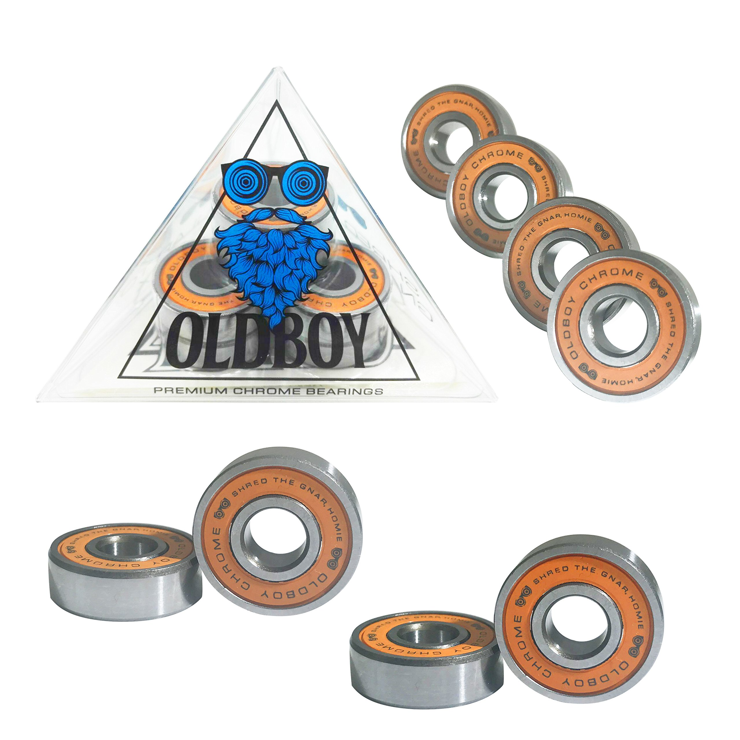 Oldboy Chrome Skateboard Bearings with tempered steel balls for skates and longboards
