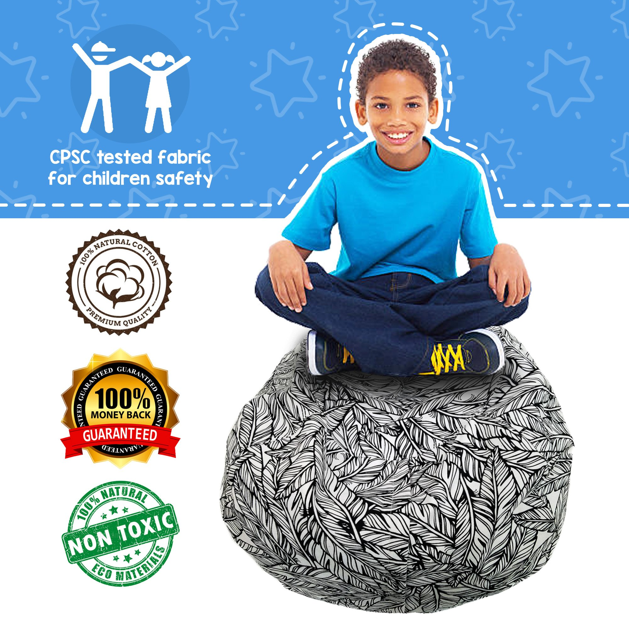 Cam & Kalleia   Bean Bag Stuffed Animal Storage Chair   Cute Toy Organizer Beanbag Containers to Create Extra Space at Home Storing Kids or Teens Plush Cushions, Soft Bed Sheets, and More!