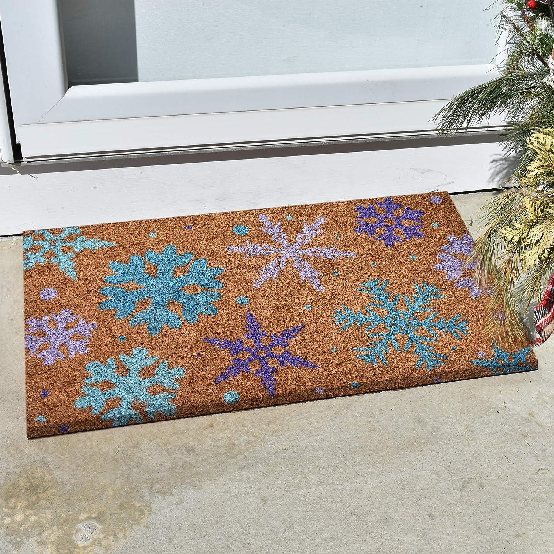 Ninamar Door Mat Winter Snowflakes Natural Coir 29.5 x 17.5 inch