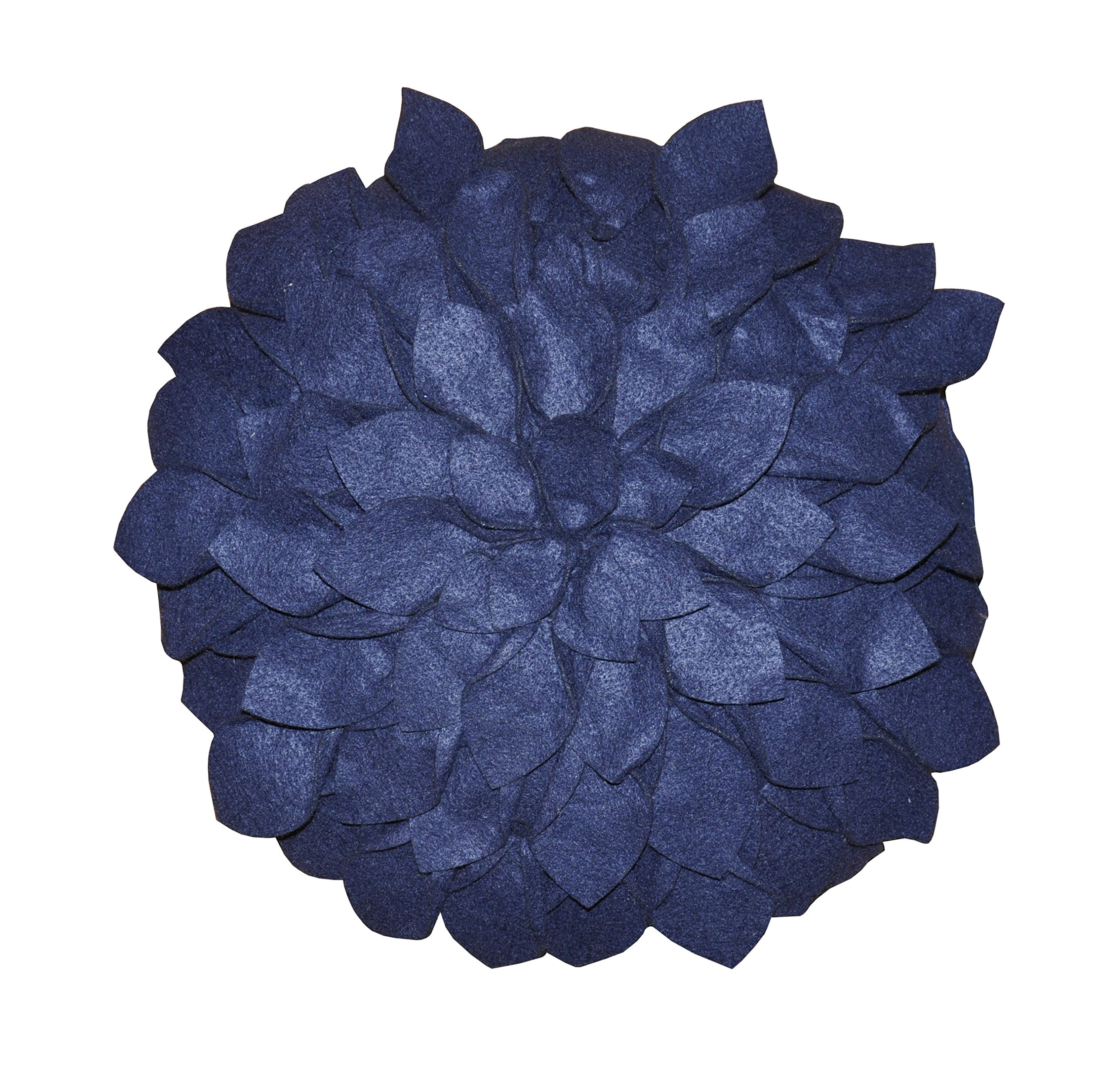 Eden Petal Round Decorative pillow, 16 Inch , Indigo
