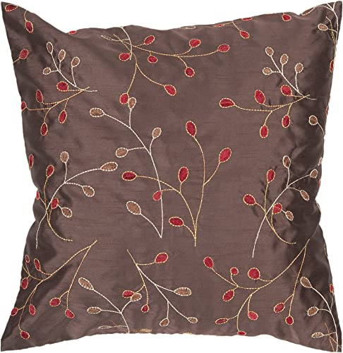 Artistic Weavers HH-094 Hand Crafted 100 Polyester Chocolate 22 x 22 Floral Decorative Pillow