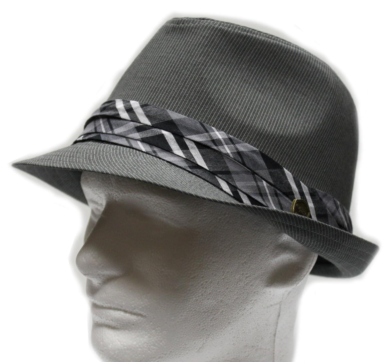 City Hunter Pmt580 Pin Stripe with Band Fedora S//m Size Dark Grey