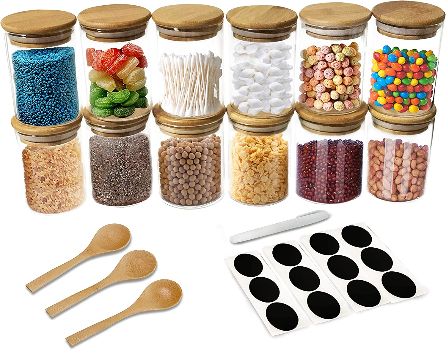 12 Piece Glass Jars with Natural Bamboo Lids with 3 Bamboo Spoons for Home Kitchen - Tea, Flour, Cookie, Candy & Spices - 8oz Small Food Storage Airtight Canister Sets for Kitchen Pantry Organization