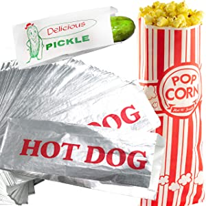 Classic Look Pickle, Hot Dog and Popcorn Bags 50 Pack by Avant Grub. Turn Your Party into a Vintage Carnival with a Snack Bag Trio for Favors or Treats. Great for Themed Parties!