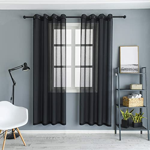 Colokey Sheer Curtain Panel Single Panel for Bedroom Living Room Balcony Curtain,Black,52×95-inch,1 Panel