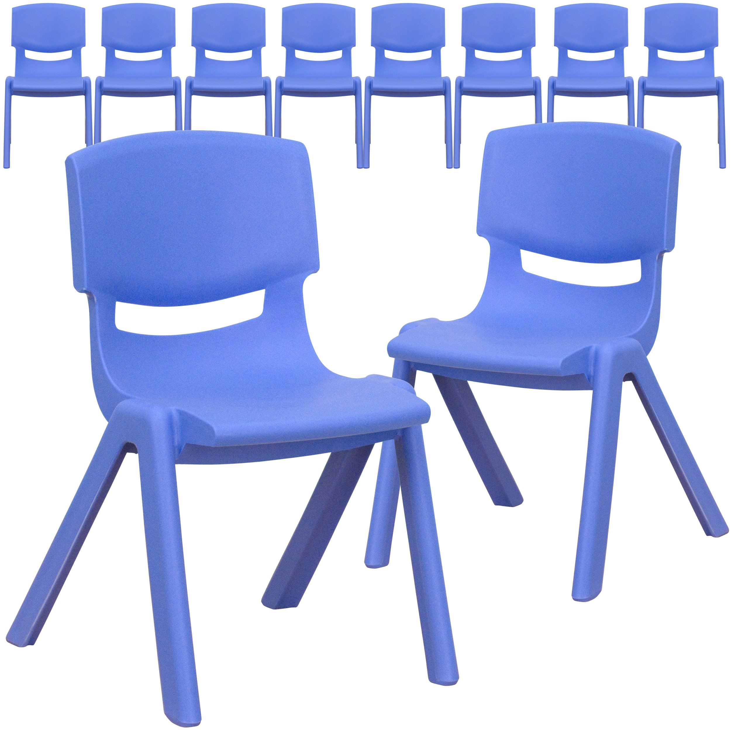 Flash Furniture 10 Pk. Blue Plastic Stackable School Chair with 12'' Seat Height by Flash Furniture