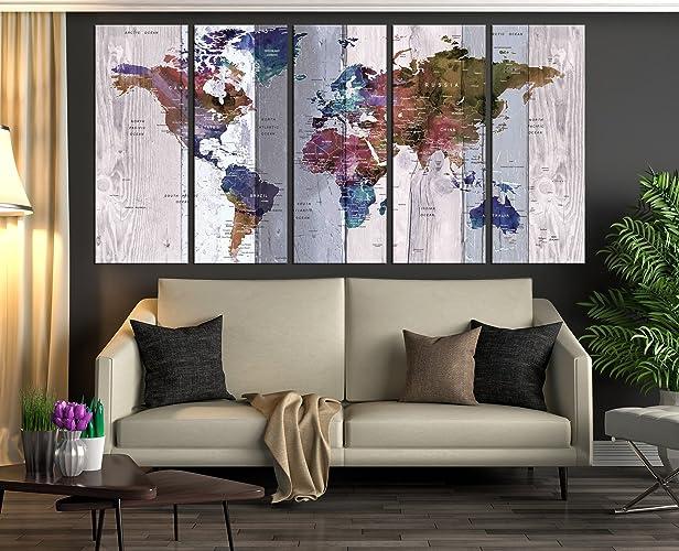 Amazoncom Extra Large Wall Art Push Pin World Map Canvas Print - Extra large framed world map