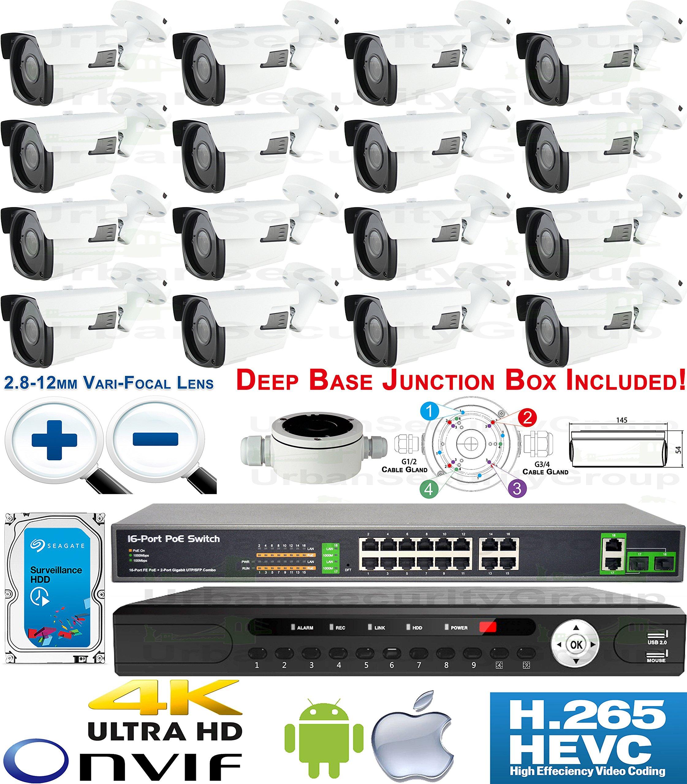 USG Motorized Lens 4MP 16 Camera Security System H.265 Ultra 4K PoE IP CCTV Kit : 16x 4MP 2.8-12mm 5MP Bullet Camera + 1x 36 Channel 8MP NVR + 1x 10 Port PoE Network Switch + 1x 4TB : Business Grade