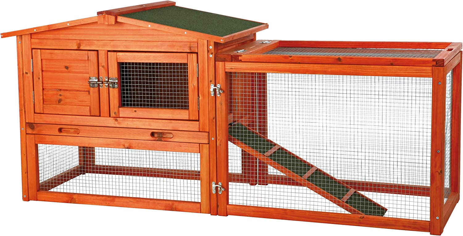 Amazon Com Trixie Pet Products Rabbit Hutch With Outdoor Run X Small Garden Outdoor