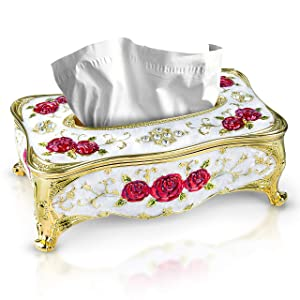 Tissue Box with Magnetic Cover-Rectangular Decorative Tissue Holder for,Bedroom,Home,Office,kitchen,Vanity-Antique Decor Elevates Any Space-Elegant Tissue box cover, by DWIL decorative boxes
