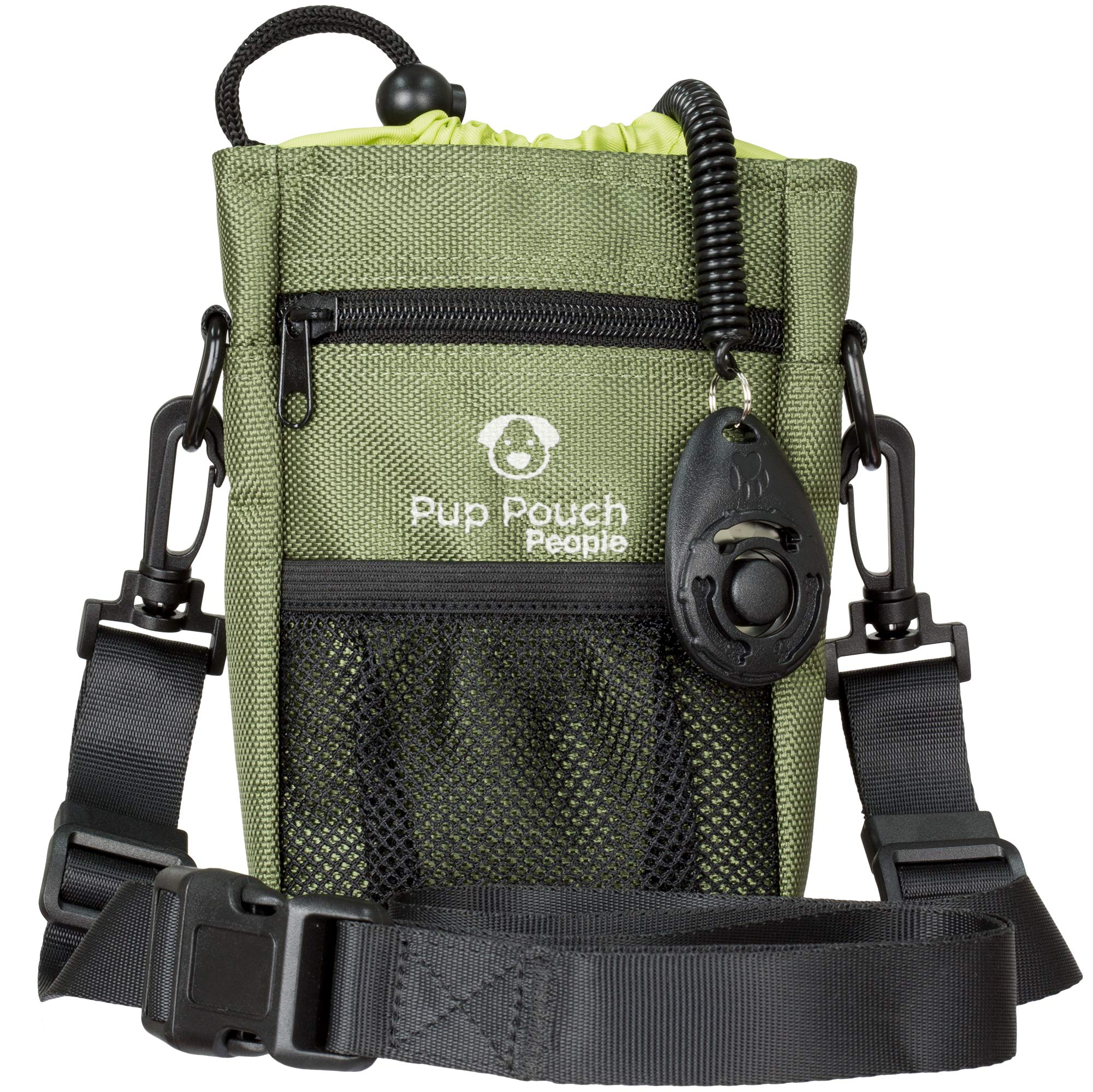 Dog Clicker Treat Walking Training Pouch Bag Bonus Clicker Trainer - Built-in Double Poop Bag Dispenser, Drawstring Closure - Carries Balls, Toys, Treats - 3 Ways to Wear - Olive Green