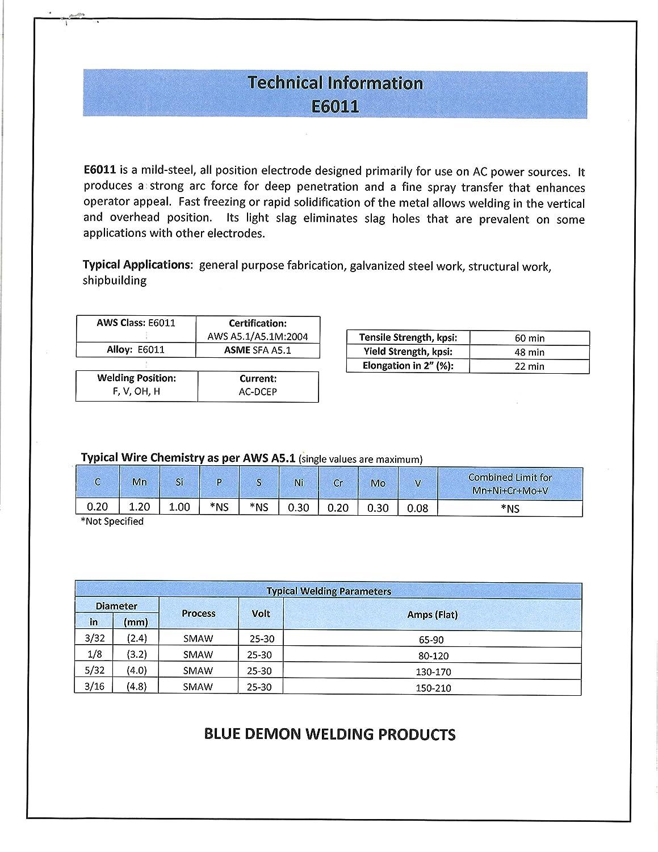 Blue Demon 6011 X 3//32 X 14 X 5LB Plastic Carbon Steel Electrode for AC Welding