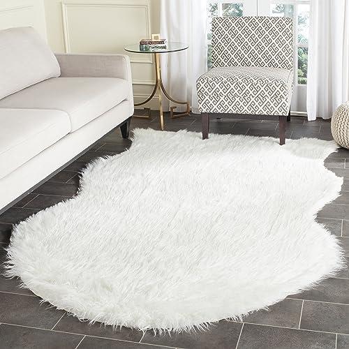 Safavieh Faux Silky Sheepskin FSS117A Ivory Area Shag Rug 8' x 10'