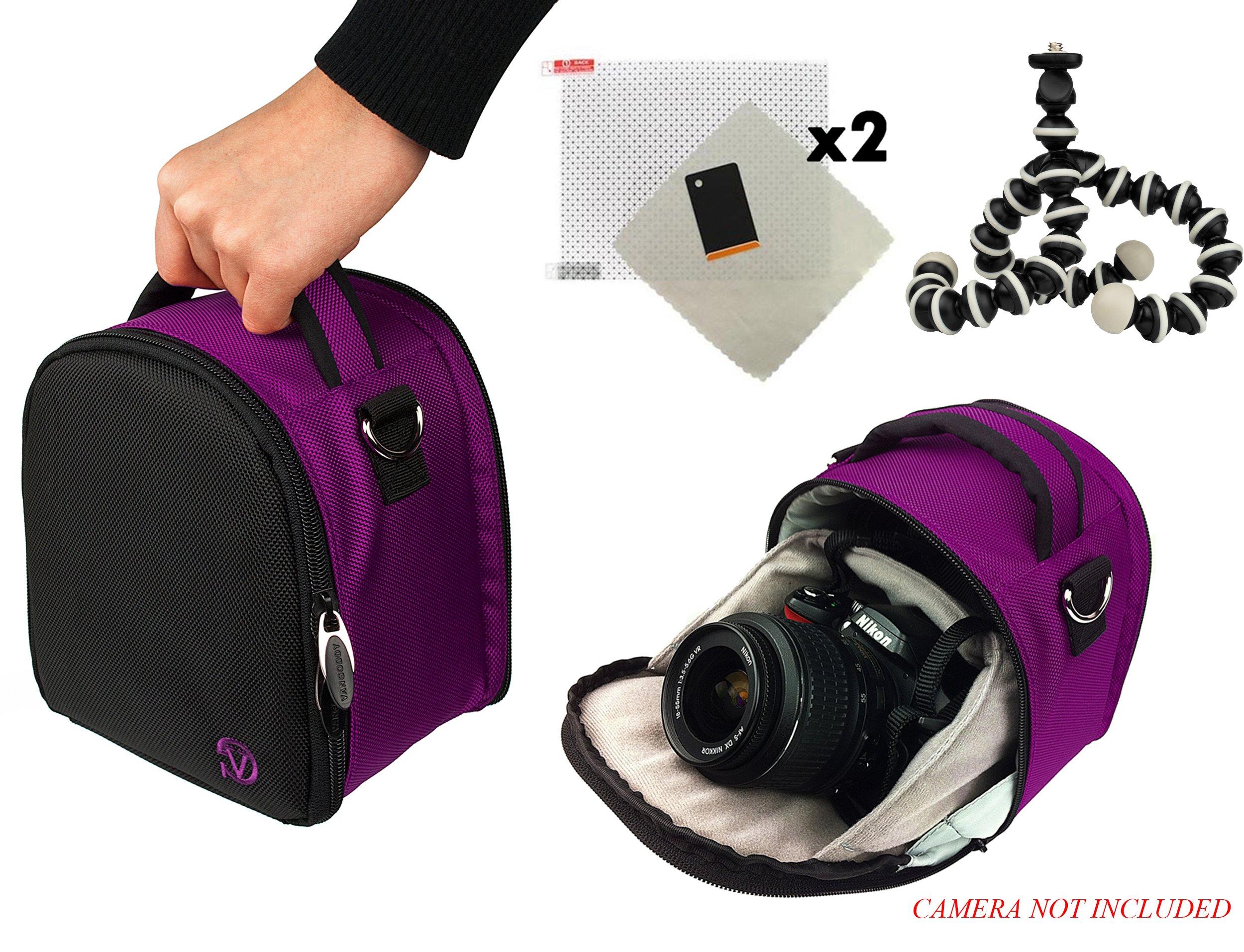 Laurel Travel Camera Bag Case for Nikon D Series D3, D300, D3000, D300s, D3100, D3200, D3300, D3s, D3X DSLR Camera and Screen Protector and Screen Protector and Mini Tripod by Vangoddy