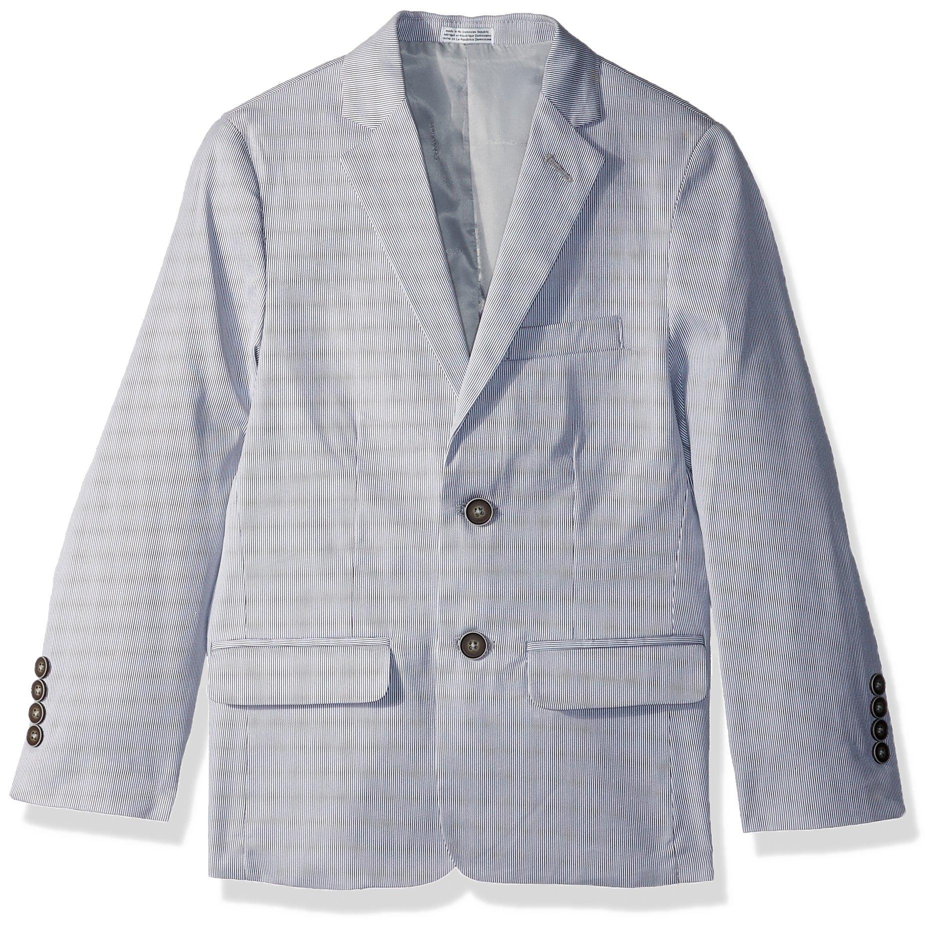 Calvin Klein Big Boys' Blazer Jacket, Silver Pincord, 8