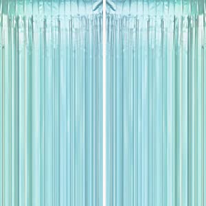 Blue Tinsel Foil Fringe Curtains - Under The Sea Baby Shower Birthday Photo Backdrops Bachelorette Wedding Bridal Shower Party Decor Photo Booth Props Backdrops Decorations, 2pc