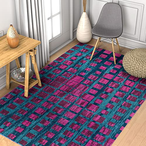 Well Woven Modern Geometric 8×11 7'10″ x 10'6″ Area Rug Casablanca Ombre Squares Boxes Purple Blue Vibrant Abstract Lines Squares Contemporary Thick Soft Plush