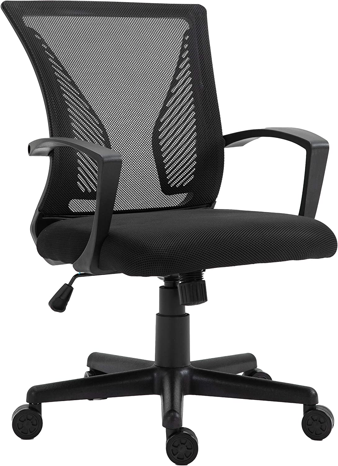 HALTER Desk Chair - Black Gaming Mesh Chair - Adjustable and Comfortable Ergonomic Chair with Armrests and Wing Lumbar Support - Ideal Gaming or Home Office Chair