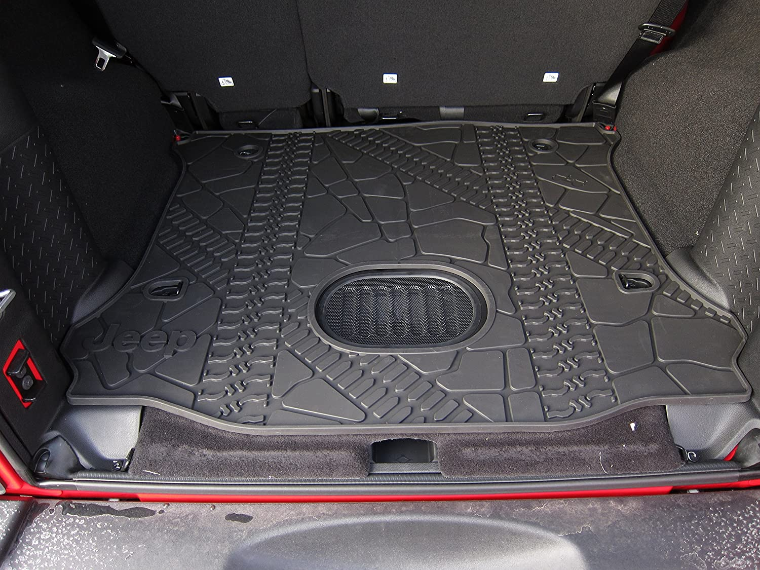 Floor mats jeep wrangler unlimited - Amazon Com Jeep Wrangler Unlimited Rear Cargo Mat Tray With Floor Mounted Sub Cutout Automotive