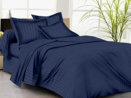 Trance Home Linen 100% Cotton 210 Tc Queen Double Fitted Bedsheet with 2 Pillow Covers (Dark Blue, 78 x 60 inches)