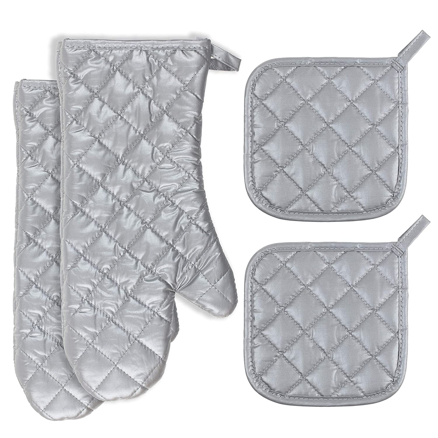 Buzhan Ovenmitts and Potholders Set,1 Pair of Quilted Cotton Lining Oven Mitts and 2pcs Set Cotton Pot Holders