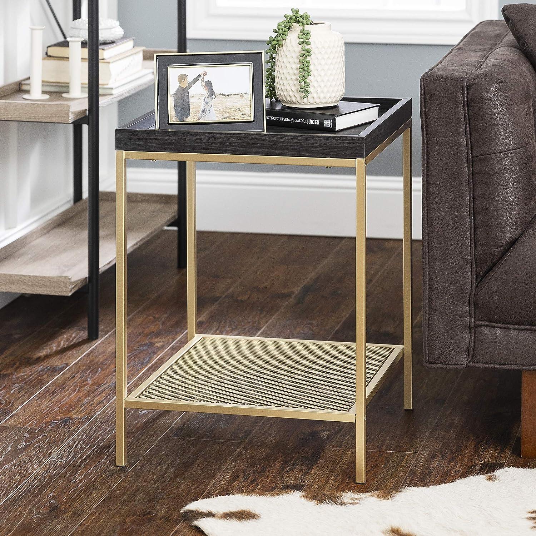 Walker Edison Industrial Farmhouse Metal Frame Square Side Accent Set Living Room Storage Shelf End Table, Graphite Grey/Gold