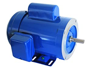 Hallmark Industries MA0510B AC Motor, 1 hp, 3450 RPM, 1PH/60 Hz, 115/208-230 VAC, 56C/TEFC, Cap Start with Foot, SF 1.15 (Pack of 1)