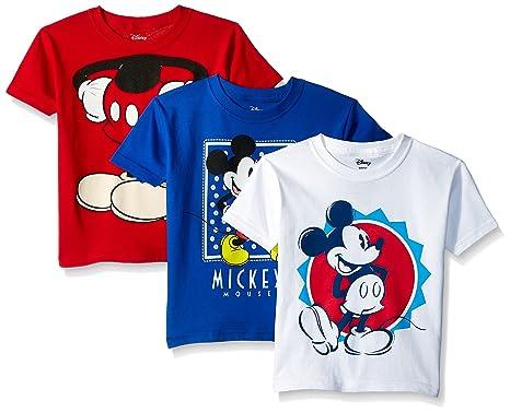 b6a47b69b Amazon.com: Disney Boys' Toddler' Mickey Mouse 3-Pack Short Sleeve T-Shirt:  Clothing