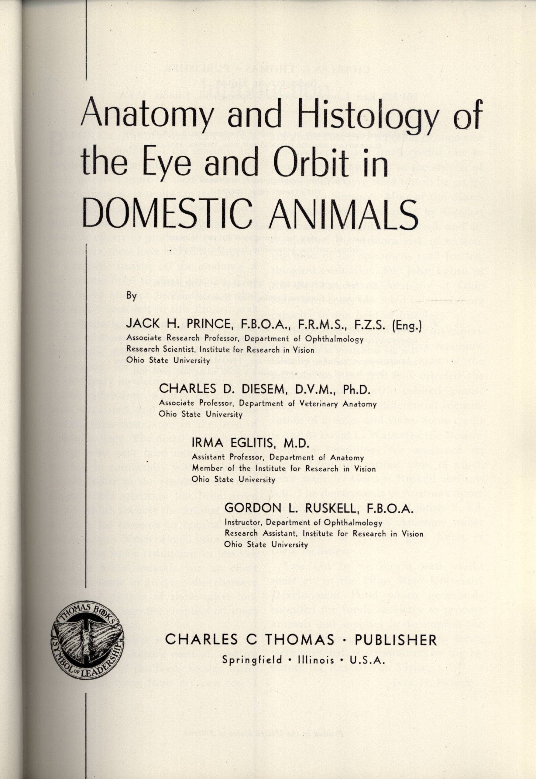Anatomy and Histology of the Eye and Orbit in Domestic Animals: Jack ...