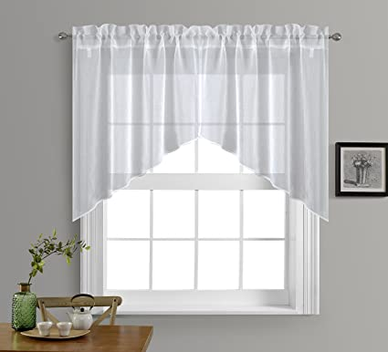 NICETOWN Kitchen Curtains Valances And Swags   Home Decor Valance Solid  Color Rod Pocket Faux Linen