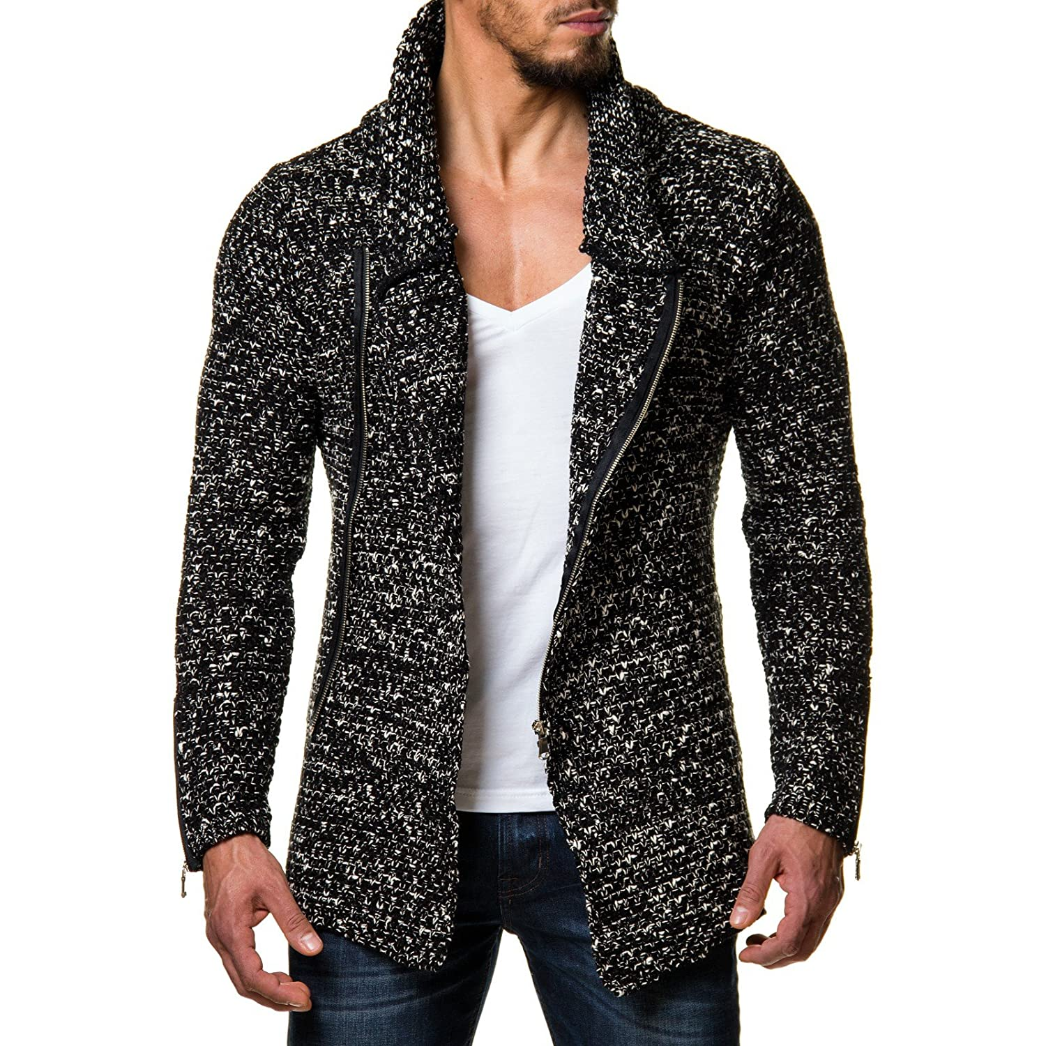 Carisma Men's Knitted Jacket Mottled Chunky Knit Cardigan with Shawl Collar Black White 7337