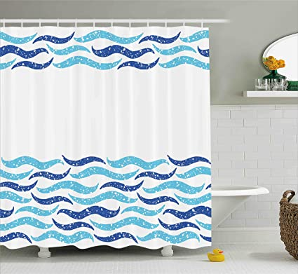 Ambesonne Modern Shower Curtain Abstract Old Ocean Life Yatcht Sea Lake Navy Waves Geometrical Image